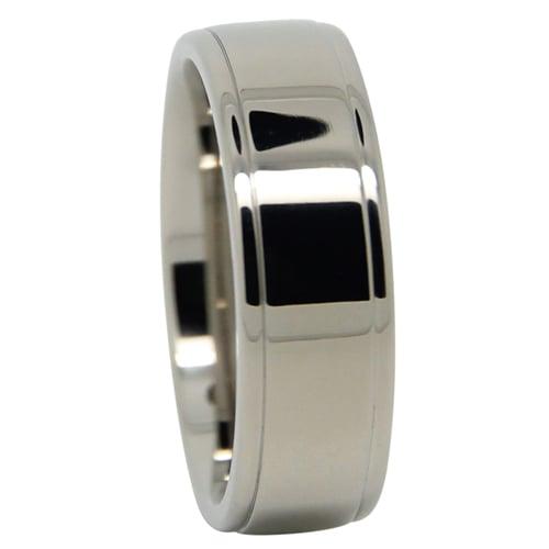 Grooved Polished Titanium Mens Wedding Ring