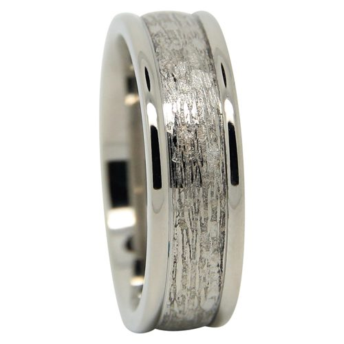 Titanium Mens Wedding Ring With Rugged Centreline