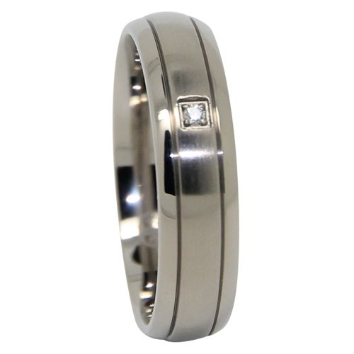 Titanium Mens Wedding Ring With Simulated Diamond
