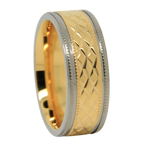 Gold Plated Titanium Mens Wedding Ring