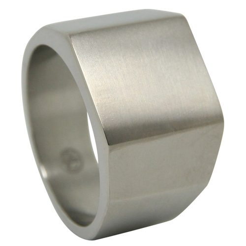 Satin Finish Titanium Signet Ring