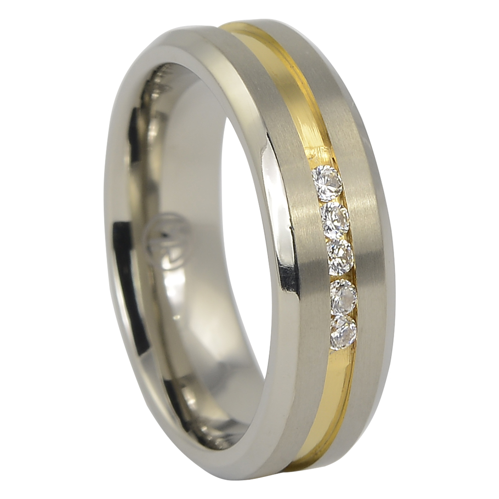 It is just an image of Mens Titanium Wedding Ring With Gold Centreline
