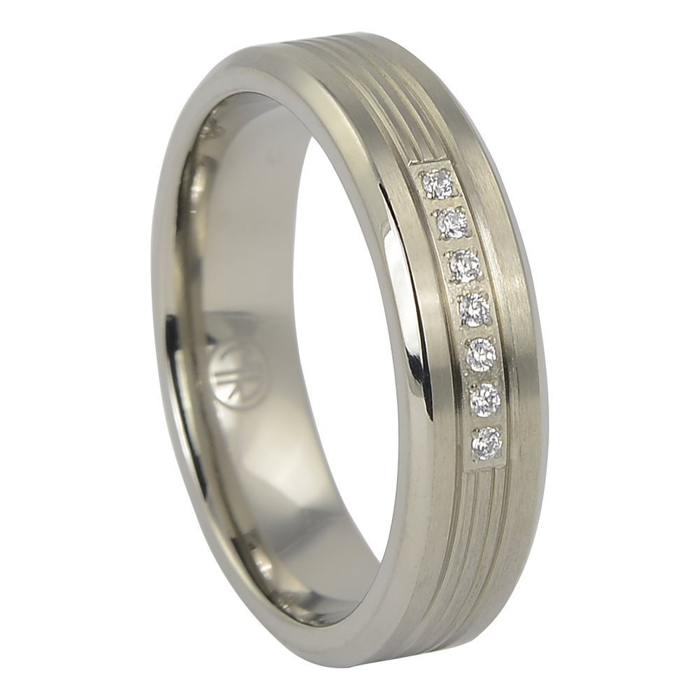 Mens Titanium Wedding Ring With Simulated Diamonds