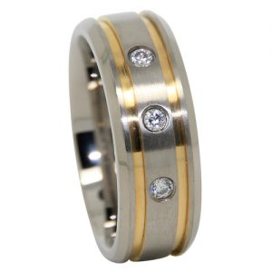 Bold Mens Titanium Wedding Ring With Twin Golden Grooves