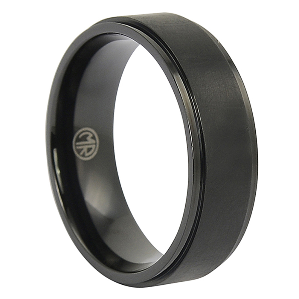 ITR-144 – Black Brushed Titanium Mens Wedding Ring