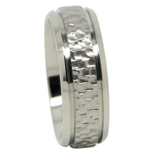 Titanium Wedding Ring With Hammered Centerline