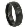 Triple Groove Black Titanium Mens Ring
