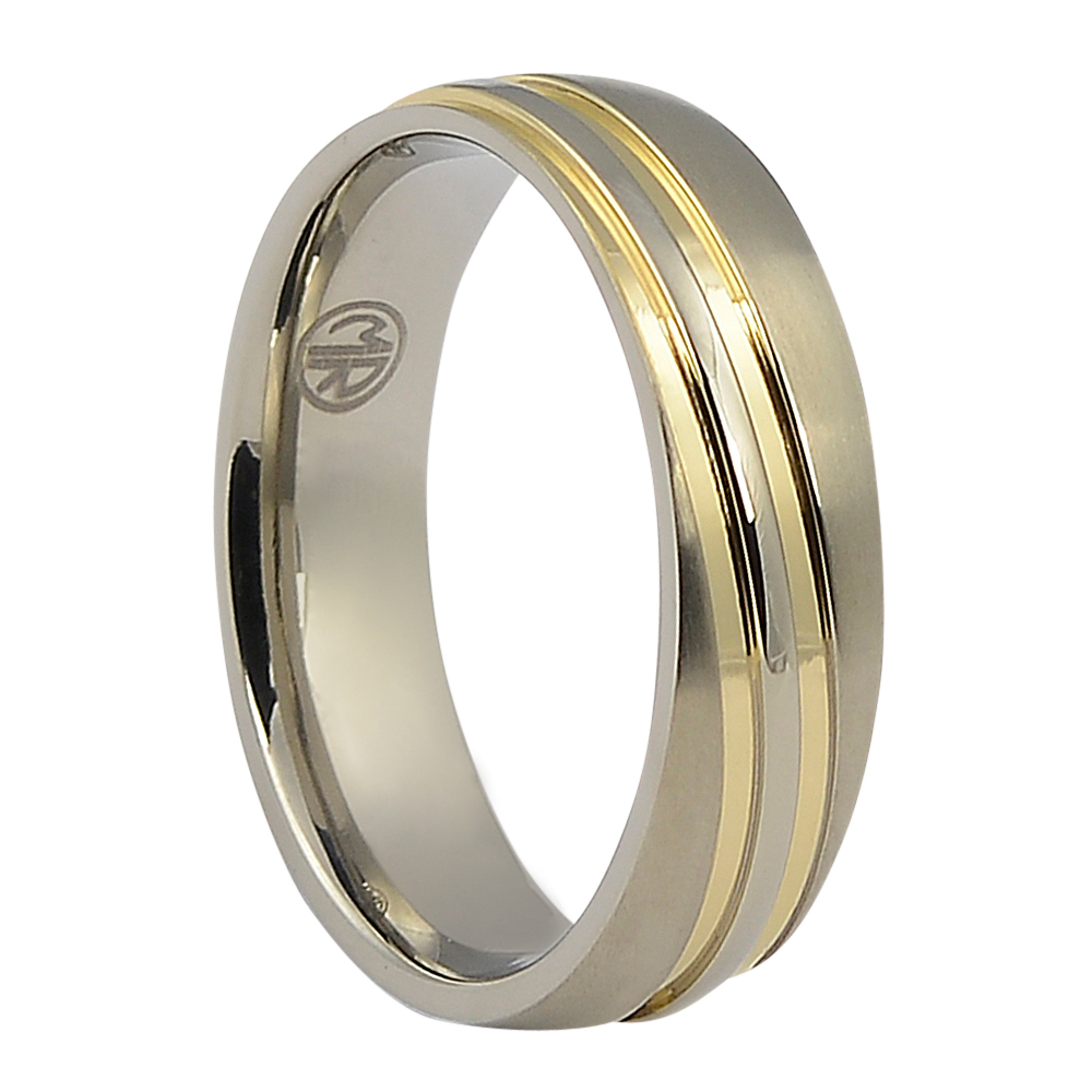 ITR-150-Titanium Wedding Ring With Twin Gold Waves