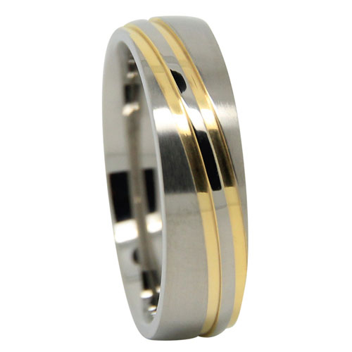 Titanium Wedding Ring With Twin Gold Waves