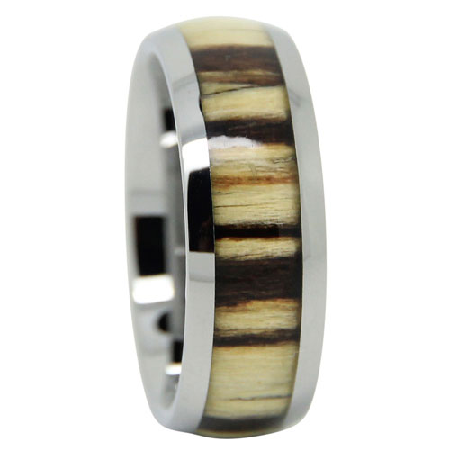 Koa Wood Tungsten Mens Ring