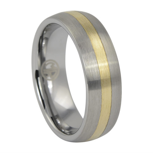 Tungsten Wedding Ring With Solid 14k Gold Inlay
