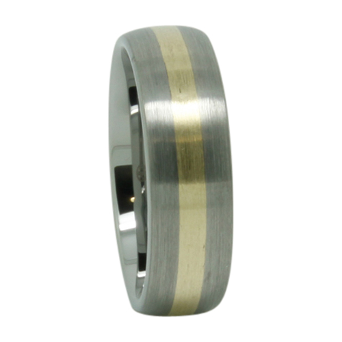 Gold Inlay Tungsten Wedding Ring