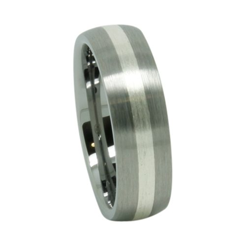 Silver Inlay Tungsten Wedding Ring