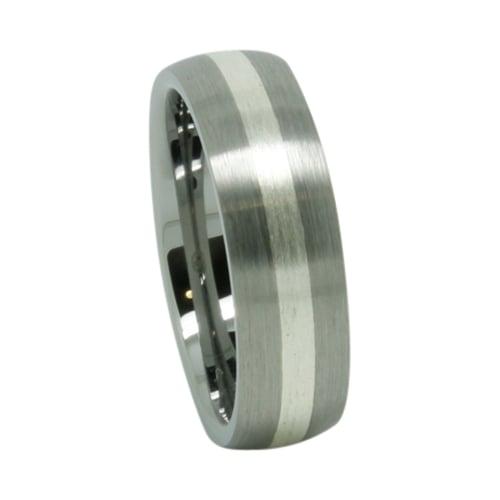 Silver Inlay Tungsten Wedding Ring