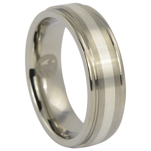 Titanium Wedding Ring With Solid Silver Inlay