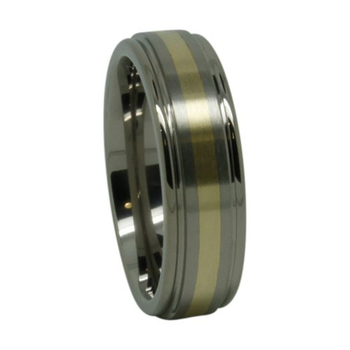 Titanium Gold Inlay Mens Wedding Ring