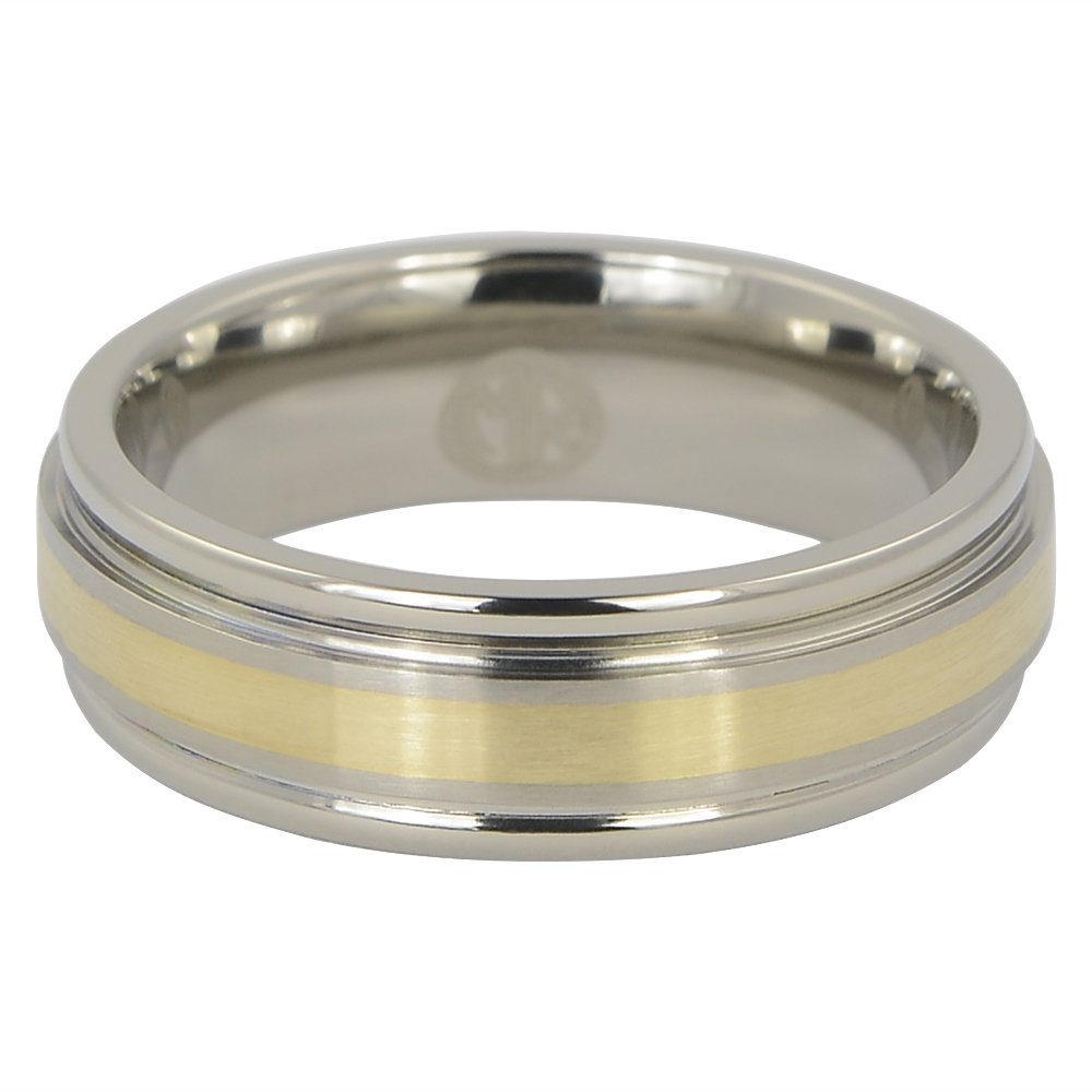 Titanium Wedding Ring With Solid 14k Gold Inlay