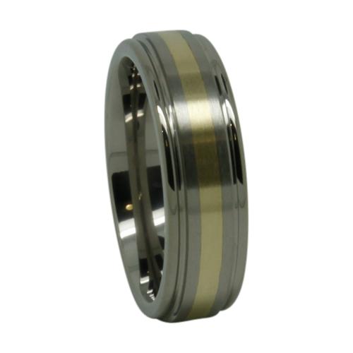 Titanium Gold Inlay Mens Wedding Ring