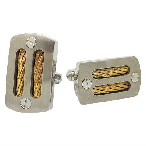 Gold Cable Titanium Cufflinks