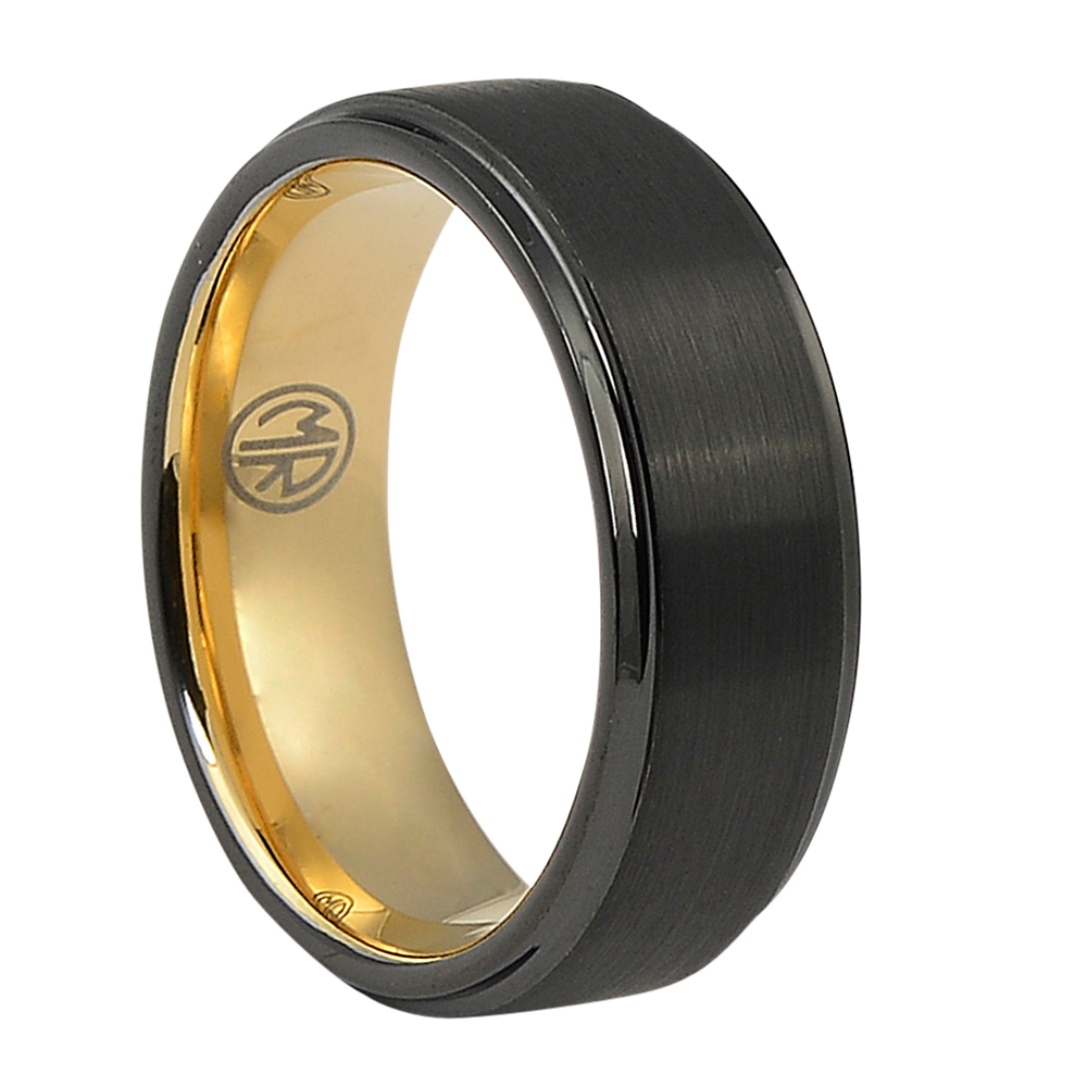 FTR-097-Black Tungsten Mens Ring With Rose Gold