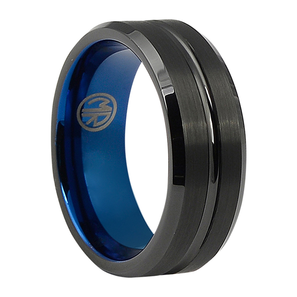 FTR-098-Black Tungsten Mens Ring With Blue Inner Band