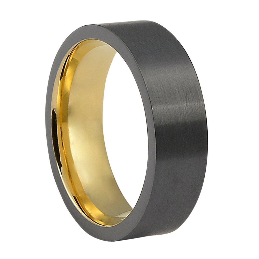 FTR-099-Black Tungsten Mens Ring With Gold Inner Band