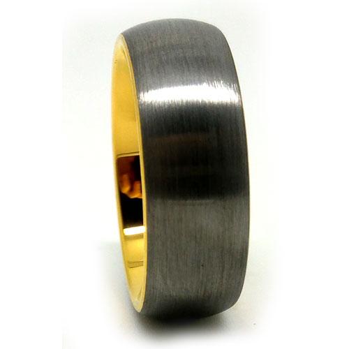 Titanium Gold Mens Wedding Ring