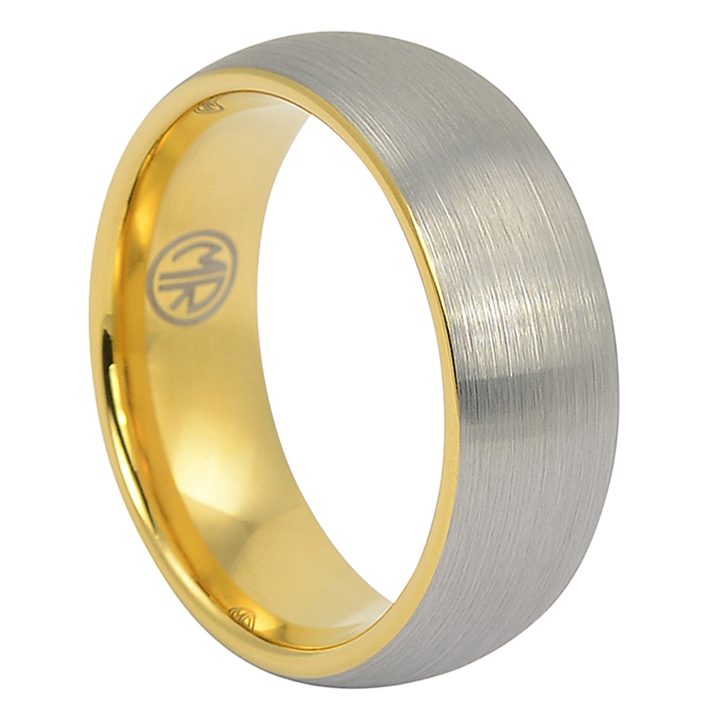 FTR-100-Tungsten Wedding Ring With Gold Inner Band