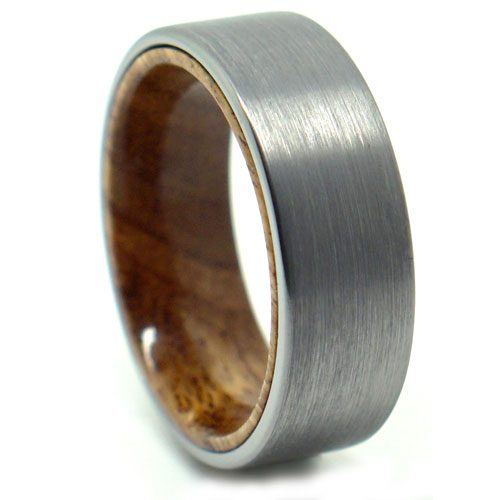 Tungsten Koa Wood Mens Ring