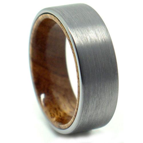 Tungsten Koa Wood Mens Ring