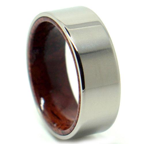 Titanium Rose Wood Ring