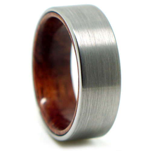 Tungsten and Rosewood Mens Ring
