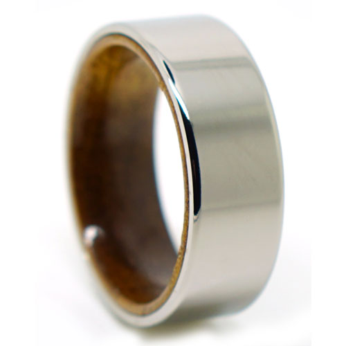Titanium Wedding Ring With Koa Wood Band