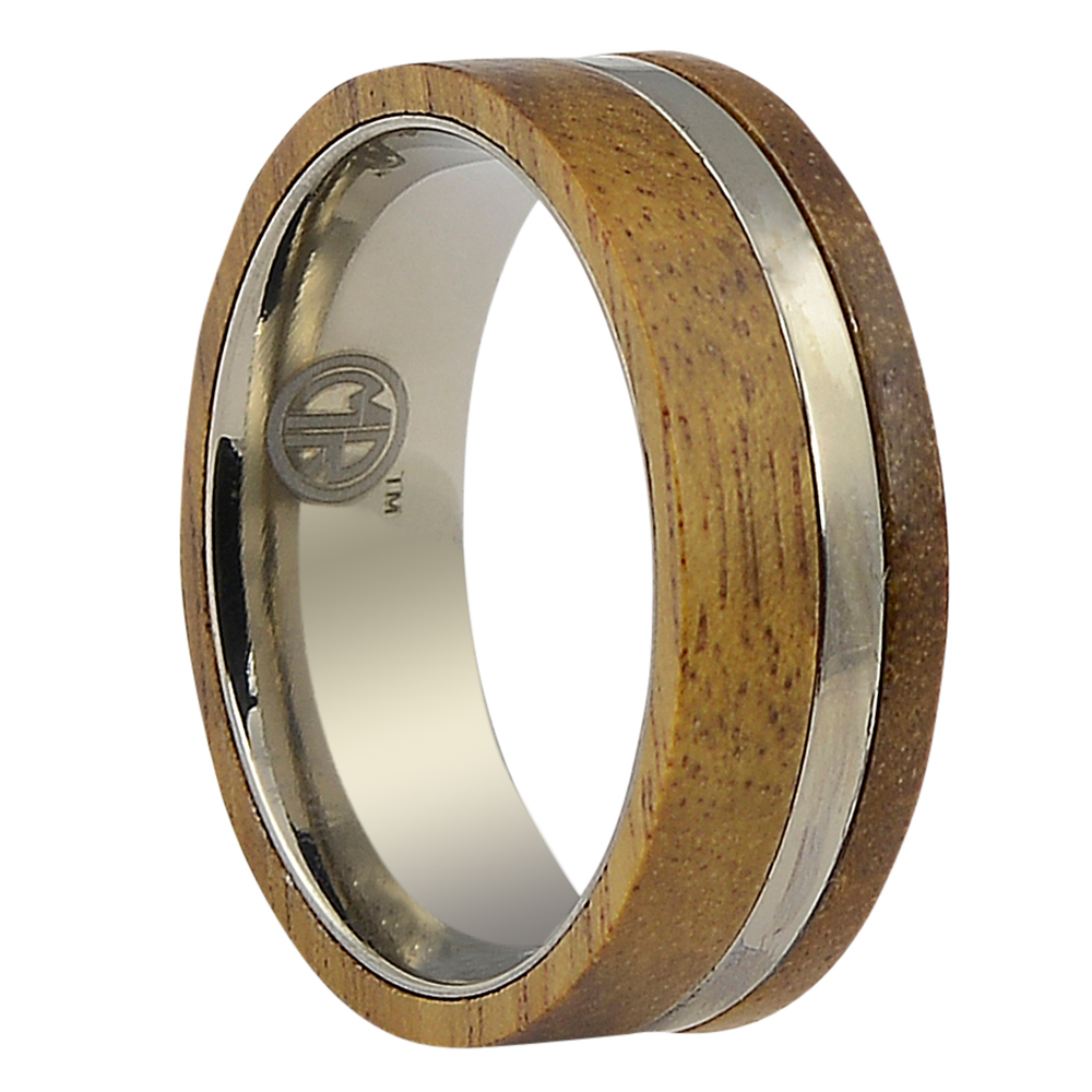 ITR-155-Koa Wood And Titanium Mens Wedding Band 2