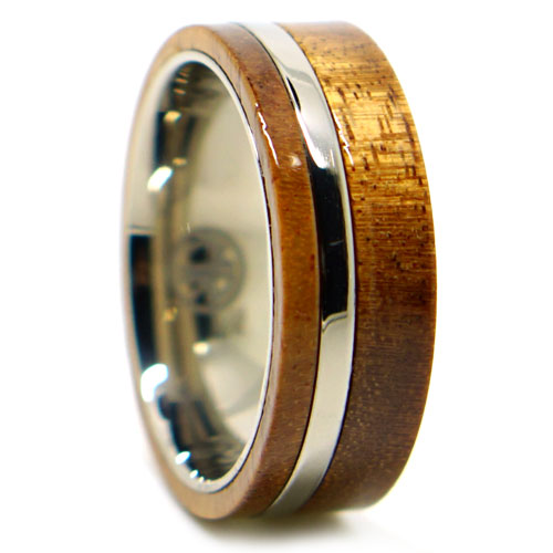 Koa Wood And Titanium Mens Wedding Band