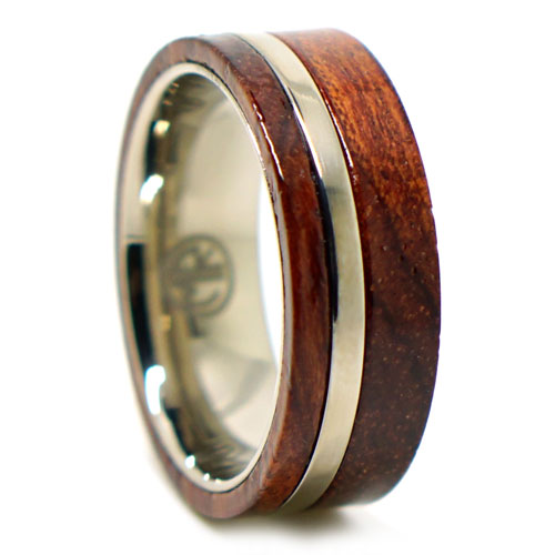 Rosewood And Titanium Mens Ring