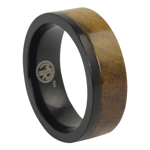 Black Titanium And Koa Wood Ring