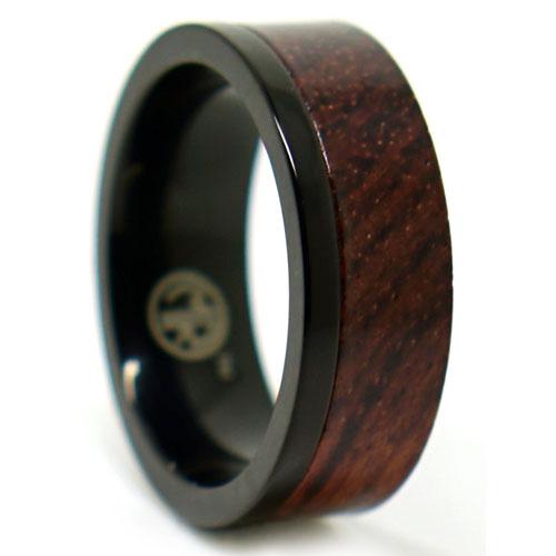 Black Titanium And Rosewood Ring