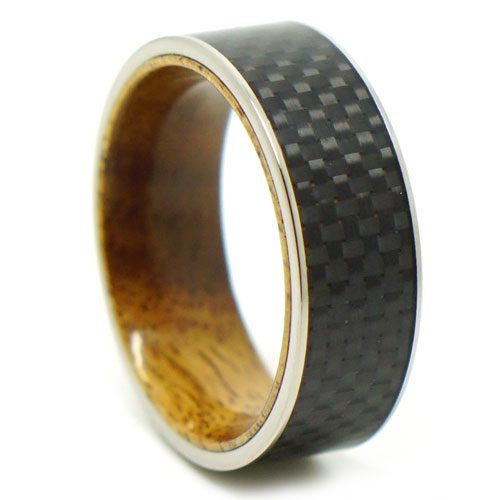 Carbon Fibre Koa Wood Titanium Mens Ring