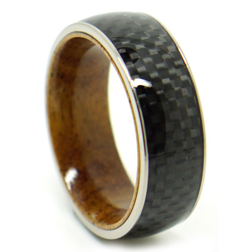 Koa Wood Carbon Fibre Rounded Mens Ring