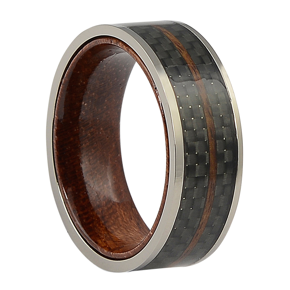 CFBR-004-Carbon Fibre Rosewood Mens Ring