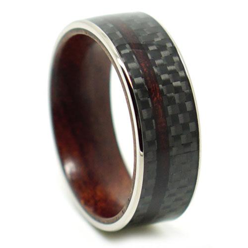 Carbon Fibre Rosewood Mens Ring