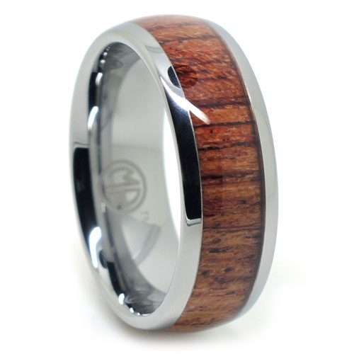 Tungsten and Rose Wood Mens Ring