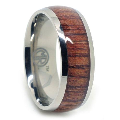 Titanium and Rose Wood Mens Ring