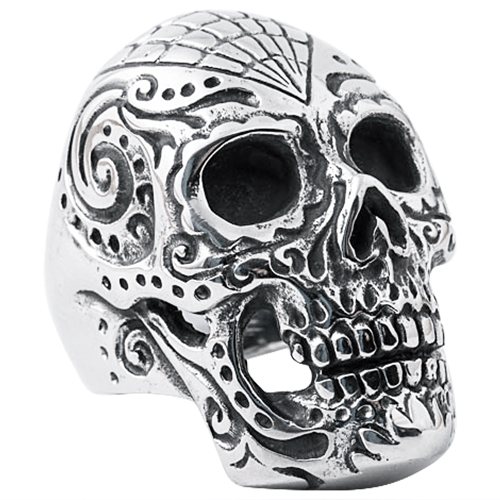 Intricate Carved Skull Ring