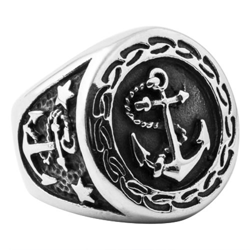 Round Navy Anchor Mens Signet Ring