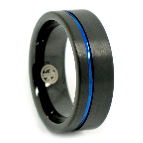 Black Blue Tungsten Mens Ring