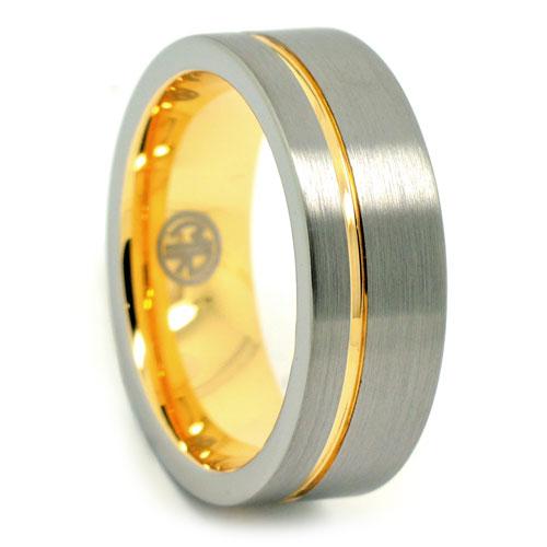 Tungsten Gold Mens Ring