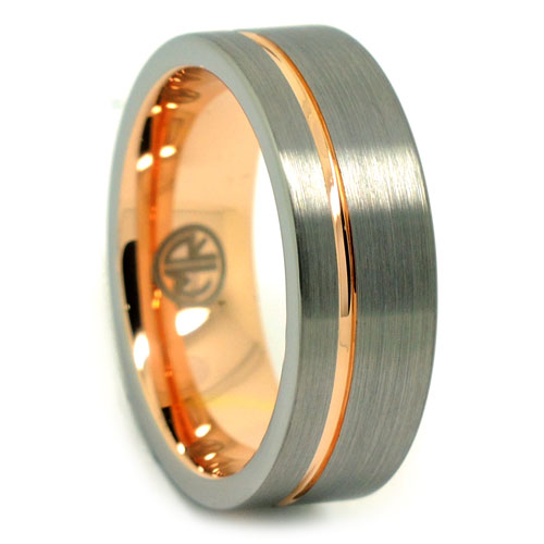 Brushed Rose Gold Signature Tungsten Mens Ring