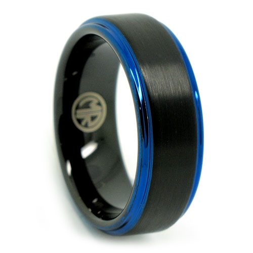 Black Blue Edged Tungsten Mens Ring